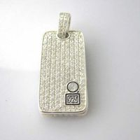 Sterling Silver Jewelry Pave Clear CZ Diamonds Dog Tag (M-015) thumbnail image
