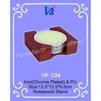 Colorful Round Metal Coaster Set with Rosewood Stand