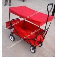 Folding Utility Wagon Garden Cart Heavy Duty Steel Frame Yard Lawn Beach