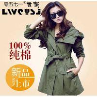 Han edition dress coat big yards long fashion leisure army green whom trench coat