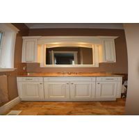white frameless solid wood bathroomcabinet