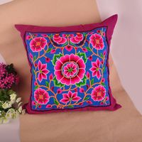 china factory handmade retro nepal style embroidery square pillowcase