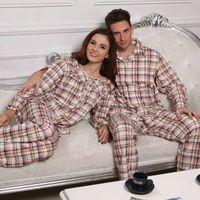 Cotton Couples Night Pajama Long Sleeved grid Sleepwear Suit thumbnail image