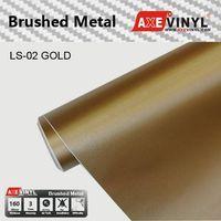 Axevinyl Factory Direct Sale Car Wrap Vinyl Premium Quality Gold Brushed Metal Vinyl Wrap Film 1.52X