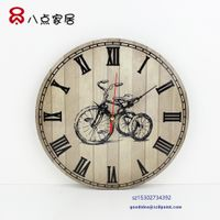 Round Shape antique Wooden clock wall clock