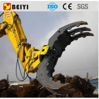 BEIYI excavator mounted hydraulic rotating grapple log grapple
