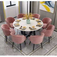 Contemporary Style Marble Top Round Dining Table with metal Frame