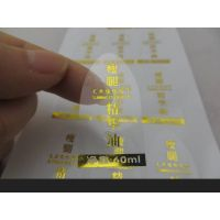 PVC transparent sticker with gold foil stamp label