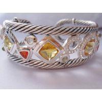 Sterling Silver Jewelry Citrine Cubic Zircon Cuff Bracelet (B-081) thumbnail image