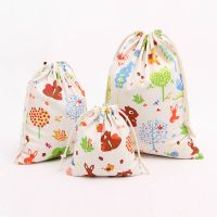 Printed Rabbit Cotton Drawstring Bag Grocery Gift storage Pouches Empty Packaging Bags