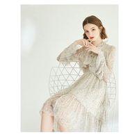 Spring vintage flounce flared sleeve floral fairy dress