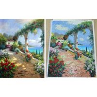 ZF-JH011 oil painting, landscape oil painting 100% by hand to be cut become art glass mosaic murals thumbnail image