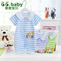 Low Price 2015 Summer Baby Clothing New Striped Short Sleeve Conjoined Clothes