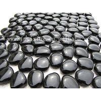 8mm thickness black glass pebble mosaic PG01