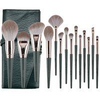 Newly 14 pcs dark green wood handle makeup brush set thumbnail image