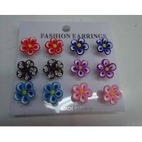 fashion hawaiian polymer clay flower fancy stud earring thumbnail image