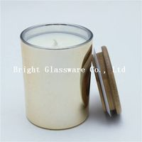 gold candle holder with bamboo lid sale