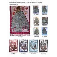 60% viscose 40% silk velvet shawls with fringe thumbnail image
