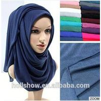 Wholesale Plain Women Dubai Muslim Scarf Solid Color Cotton Infinity Jersey Hijab