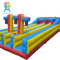 Giant inflatable bouncy runway for racing game, triple runways jousting Inflatable Bungee Run game