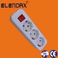 3 way extension socket with earth and switch