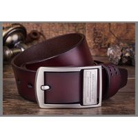 Men Genuine leather Pin belt buckle, Wholesale real leather belt
