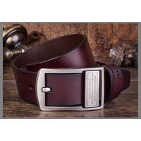 Men Genuine leather Pin belt buckle, Wholesale real leather belt