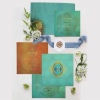 MATTE FLORAL THEMED - FOIL STAMPED WEDDING INVITATION : CD-1822 thumbnail image