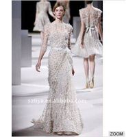 Real pictures customer made elie saab lace crystal flower beaded evening gown