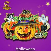 3D Paper Cut Glitter Elf Pumpkin Halloween Decoration