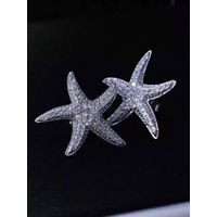 Neffiy s925 Simple Style Women OL Crystal Starfish Ear Studs Clear Gems Sea Star Earring