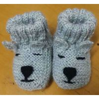 hand knitted bear baby booties