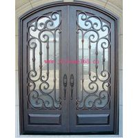 Wrought iron decorative exterior double entry door design