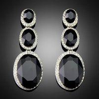 Wholesale New Fashion Trendy Hot Sale Rhinestone Crystal black dangle earrings for Women Girls Jewel thumbnail image
