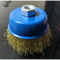 Crimped wire cup brush 100mm M14-2 brass coated steel wire thumbnail image
