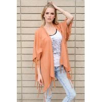 Solid Color Women Fringed Cape Coat Shawl Wrap Scarf