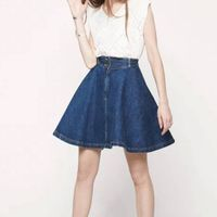 Denim Jeans Prom Flippy Skirt Midi High-waisted Retro Chic Women's Fashion
