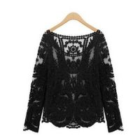 Womens Gradient Colors Sheer Embroidery Floral Lace Crochet T-Shirt Top Blouse thumbnail image