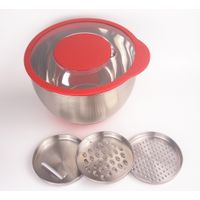 Amazon Hot Sale Stainless Steel Salad Fruit Egg Mixing Bowl with transparent lid and graters