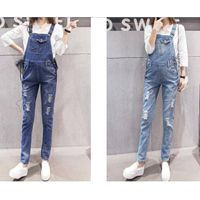 Maternity Adjustable Waist Denim Jumpsuit Two Colors