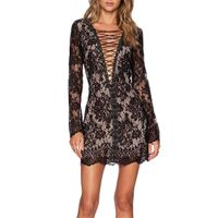 Womens Fancy Evening Dress Sexy Floral Lace V-Neck Zipper Mini