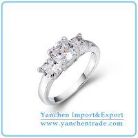 Three Stone Engagement Ring Designs with Rhodium Plated CZ Diamond