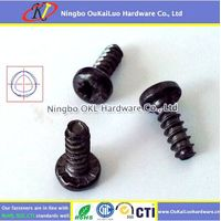 Black Zinc Plated Pozi Pan Head Trilobular Thread Forming Screws