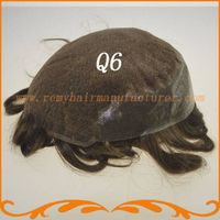 New arrival 100% India hair Q6 base stock men toupee free shipping