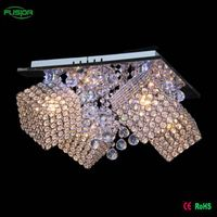 Modern square full crystal chandelier lighting led glass ceiling light wiht remove control