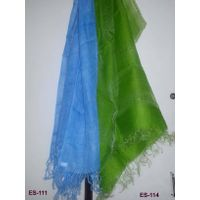 Silk Scarf in Green and Linen Scarf Blue