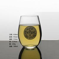 OEM Clear Wine Glass Egg Shaped Drinking Wine Glass Customized Wine Glasware