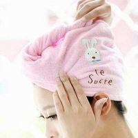 Cute hair Soft microfiber towel solid fast hair dry hat women ladies Girls CAP bath accessories drie