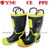 Fire proof rubber fire shoes with steel toe