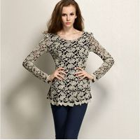 Ladies fashion casual O neck tops long sleeve sexy lace sheer solid t shirts women